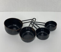 Vintage Metal Black Measuring Cups Set of 4 - 1/4-1/2-1/3-1 CUP