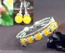 Beautiful Jewelry Tibet Silver Yellow Jade Bracelet Woman Earrings Set