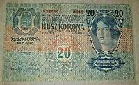 ZWANZIG KRONEN banconote 20 CORONE 1913 CARTAMONETA BANCONOTA AUSTRIA UNGHERIA
