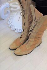 Bertie Italian Tan Supple Leather Lace up Brogue Knee High Boots EU38 UK5