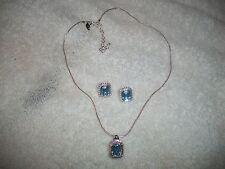 NOLAN MILLER Signed Blue Topaz Crystals Necklace & Earrings Silvertone NIB