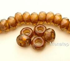 4(Four)  8x13mm Large Hole Rondelle Beads: Pearl Coated - Patina