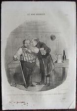 DAUMIER, LITHOGRAPHIE ORIGINALE, LES BONS BOURGEOIS N° 17 / BILLARD / ALCOOL