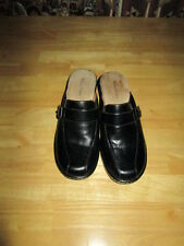 Womens MADISON COMFORT Black Leather Wedge Clogs Heels Shoes  Sz 8 M