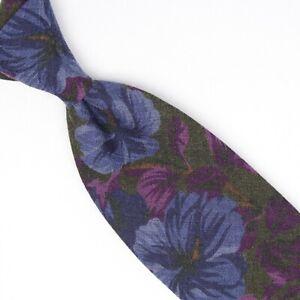 John G Hardy Mens Wool Necktie Green Tonal Purple Blue Floral Print Tie Italy