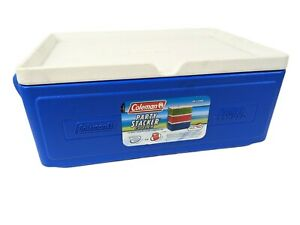 Coleman 24-Can Party Stacker Portable Insulated Cooler #6225 Blue w White Lid