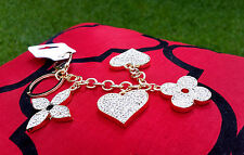 Tapage Flower Heart Keychain Key Chain Bag Purse Charm Ring Crystals Keychain