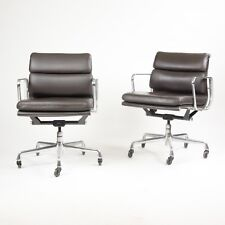 Eames Herman Miller Soft Pad Aluminum Group Chair Brown Leather 2006 2x Avail