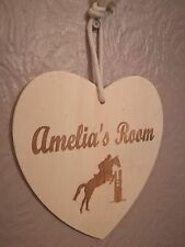 Personalised Hanging Wooden Heart Room Sign Any Name Engraved Horse Design
