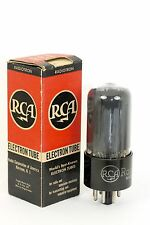 NOS RCA 6V6GT Vintage Tube 1944 BLACK-PLATE SQUARE-GETTERS SMOKED-GLASS 148%mA