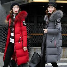 Lady Womens Big Fur Collar Hooded Coat Winter Long Parka Warm Down Padded Jacket