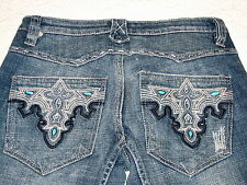Antik Distressed Flare Cotton Jeans Turquoise Studs on Pockets Topstitched  27