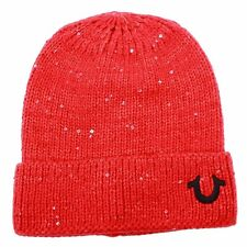 True Religion Women's Sequin Watchcap LOGO Cap Beanie Hat Red OSFM Free Shipping