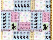 Scotties Dog bones Flowers Patch Cotton Flannel Fabric