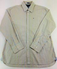 Tommy Hilfiger Men's Sz Large 16 1/2 -17 Custom Fit LS Gold & Blue Striped Shirt