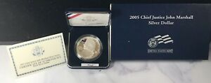 2005 P Chief Justice John Marshall Proof Silver Dollar with Box/COA -ES616