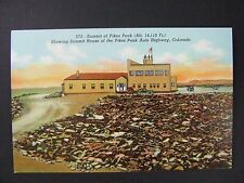 Pikes Peak Colorado Springs CO Summit House Auto Highway Linen Postcard 1930-45