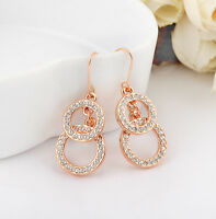 18K Rose Gold Filled Stunning Swarovski Crystal Hoop Rings Dangle Earring Gift