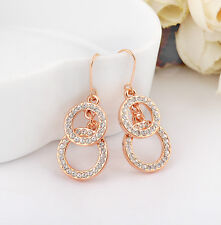 18K Rose Gold Filled Stunning Swarovski Crystal Hoop Rings Dangle Earring Gift