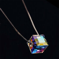 925 Silver Mystic Rainbow Topaz Necklace Pendant Chain Choker  Fashion Jewelry
