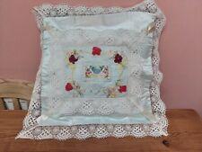 More details for antique ww1 silk souvenir de france lace ribbon work hand embroidery pllow case