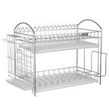 Nex 304 Stainless Steel 2-Tier Kitchen Dish Cup Rack Drying Holder Drainer Dryer