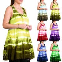 Women Boho Sleevless Tie Dye Lace Sheer Tunic Top Short Mini Sun Dress Plus Size