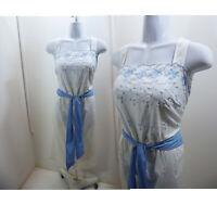 Vintage Sun Dress Size M L White Blue Prairie Cotton 70s Lolita Pinafore Frock