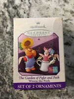 Hallmark Winnie the Pooh The Garden of Piglet and Pooh Set of 2 Ornaments