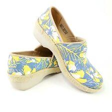 Dansko Womens Sz 38 Yellow Blue Victoria Tahiti Floral Canvas Clog Nursing Shoes