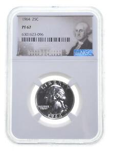 1964 PF67 Proof Washington Quarter NGC Graded - White Coin Spot Free PR *0225