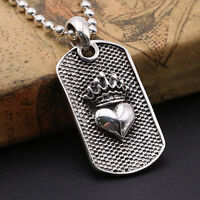 Solid 925 Sterling Thai Silver Pendant  Crown Heart Dog Tag  Men's Women's
