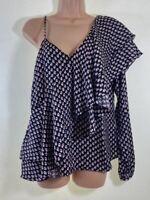 NEXT black silky ruffle asymmetric hemline blouse top size 12 euro 40