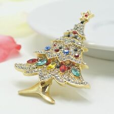 Crystal Collar Elegant Jewelry Tree Christmas Rhinestone Pin Vintage Brooches