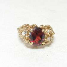 Estate 14K Yellow Gold 2.40 Ct Natural Oval Deep Red Garnet And Diamond Ring