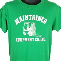 Maintainco Inc T Shirt Vintage 80s Equipment Forklift Made In USA Size Large