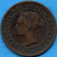 Canada 1876 H 1 Cent One Large Cent Coin - Fine
