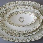 4 Antique HAVILAND Porcelain Platters HOLLY BERRIES Schleiger 543 Green GILT Trm