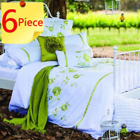 Harper Duvet Doona Quilt Cover Set | Cotton | Detailed Embroidery | 6 Piece King
