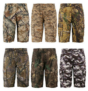 Men's Cotton Relaxed Fit Outdoor Camping Army Nature Hunting Camo Cargo Shorts