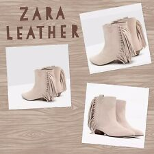 3a5858fa924 ZARA Beige Goat Suede Leather Ankle Boots with side Fringe Cowboy Booties  Sz 6