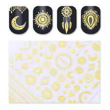 Charming 3D Nail Art Stickers Tattoos Star Moon Lace Gold Decals Decor Tips DIY
