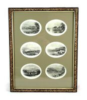 Antique 19th Century Framed Engravings Prints of Windermere Lake England W Banks