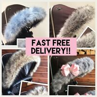 Fur for Babies Pram, Hood fur trim, Pink, White, Lots of colours FAST DELIVERY,