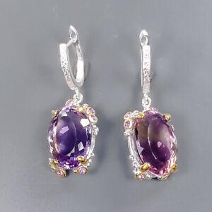 IF Sweet AAA color 40 ct Ametrine Earrings Silver 925 Sterling   /E57664