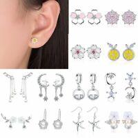 Fashion Flower Zircon Crystal Pearl Tassel Earrings Lady Ear Drop Dangle Jewelry