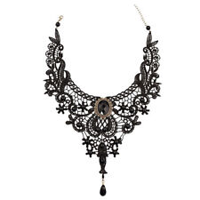VICTORIAN STYLE BLACK LACE CHOKER WITH CRYSTALS SENT IN A VELVET GIFT BAG