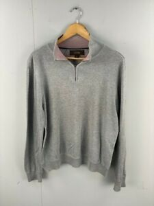 Tasso Elba mens Grey Pink Heather Collared 1/4 Zip Pullover Sweater Size Large