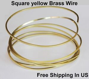 Brass Square Wire (Dead Soft) 14 -16 -18 -20 Ga / 5 - 10 - 15 - 25 - 50 FT. Coil