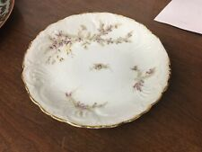 "Dresden Germany 6-7/8"" Bread/Dessert Plate Purple, Green Floral Design/Gold Trim"